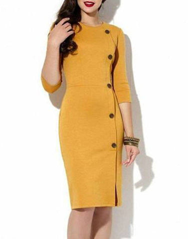 Mustard Button Up Sheath Dress