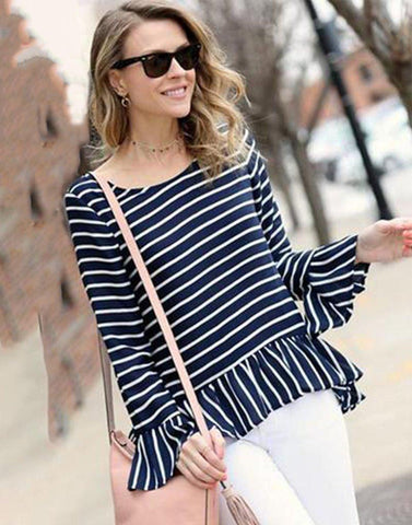 Stripe Panel Ruffled Top