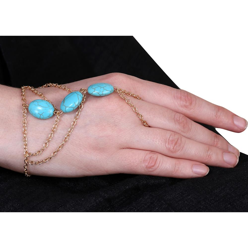 Blue Beads Multi Chain Ring Bracelet