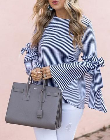 All Stripes Bell Sleeves Top