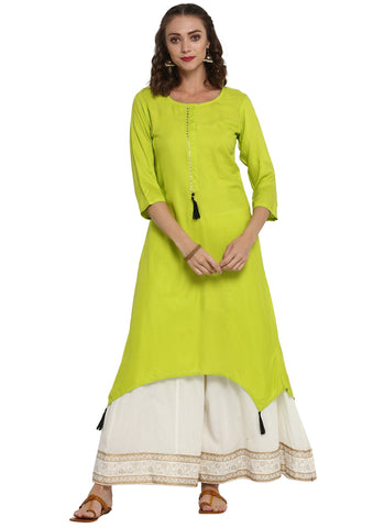 Apple Green A-Line Kurtas