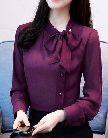 Cute Wine Bow Tie Top