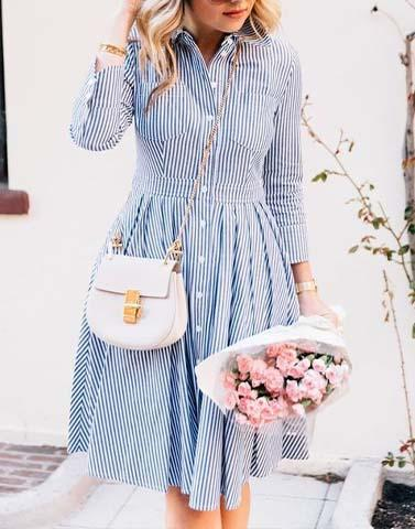 Monday Blues  Shirt Dress