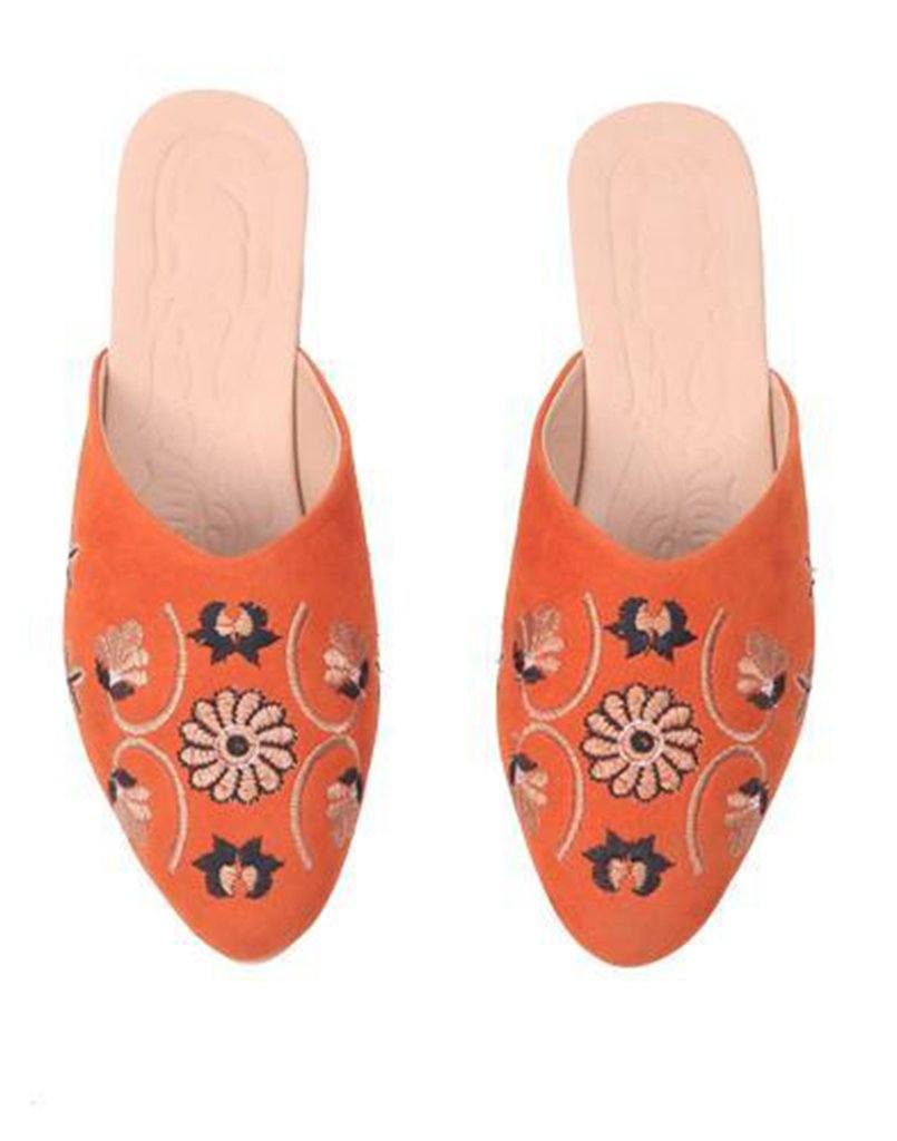 Floral Orange Embroidery Mule Flat
