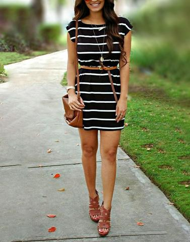 Black Stripes Day Dress