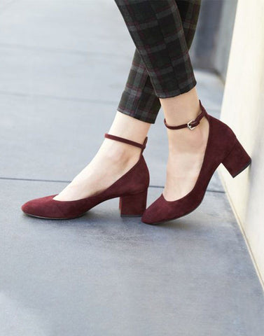 Hot Wine Block Heels