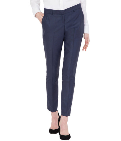 Women's Blue Solid Cotton Office Trouser