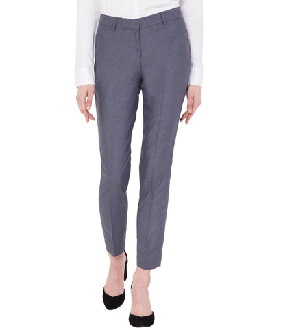 Women's Grey Slim Fit Cotton Formal Trouser