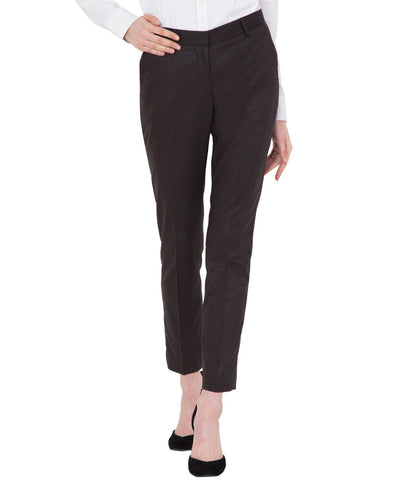 Women's Light Brown Cotton Slim Fit Stretchable Office Trouser