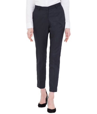 Women's Blue Solid Cotton Stretchable Office Wear Trouser