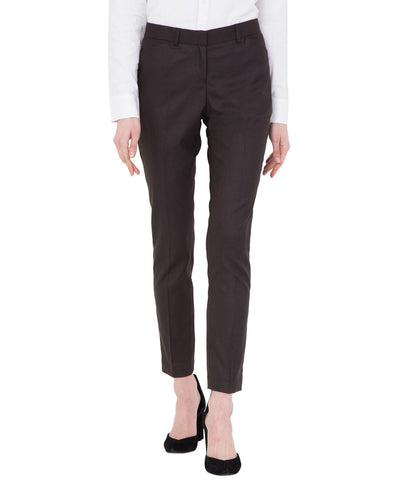 Women's Light Brown Slim Fit Cotton Stretchable Formal Trouser