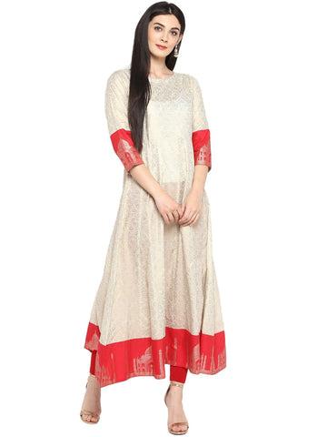 Off White & Red Gold Printed Anarkali