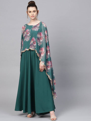 Sea Green Floral Cape Style Kurta Gown