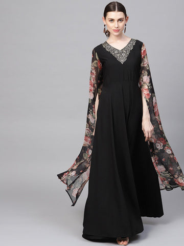 Black Designer A-Line Kurta with Exaggerated Sleeves