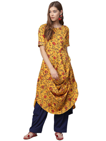 Women Yellow Straight Kurta