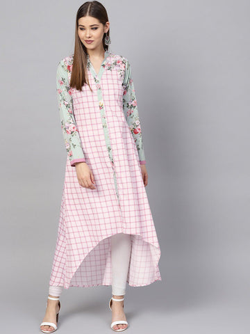 Pink Digital Print Low High Hem Kurta