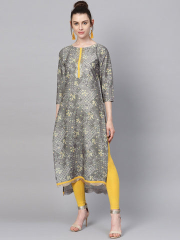 Grey & Yellow Print Straight Kurta