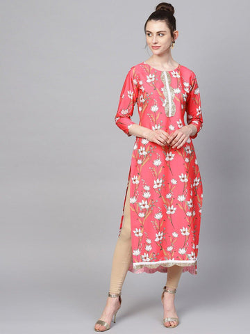 Red Digital Print Straight Kurta