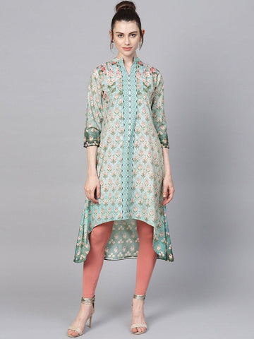Pastel Digital Print Low High Hem Kurta