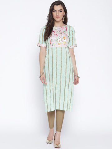 Pastel Floral Striped Straight Kurta