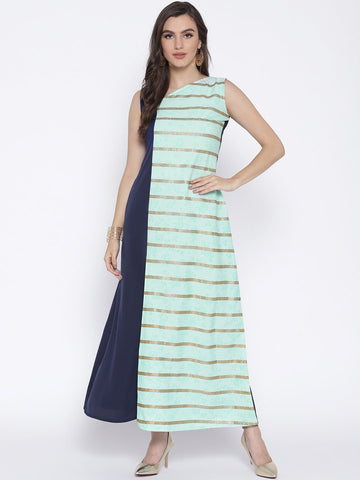 Flared Blue Color Blocked Kurta Dress with Front Slit