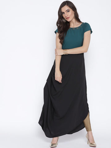 One Side Gathered Drape Kurta Dress