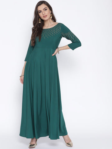 Blue Green Flared Party Wear Dress