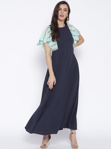 Navy Blue & Light Blue Flared sleeve Kurta Dress
