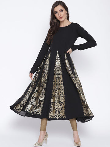 Black Flared Anarkali with Gold Highlight Kalis