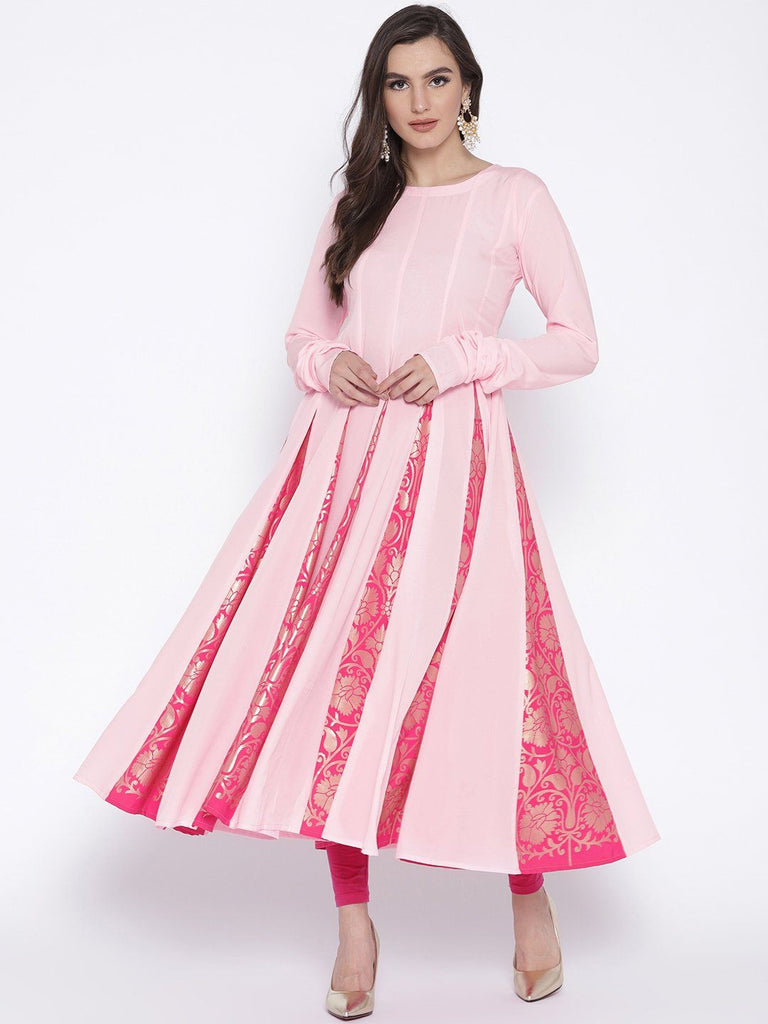 Pink Flared Anarkali with Gold Highlight Kalis