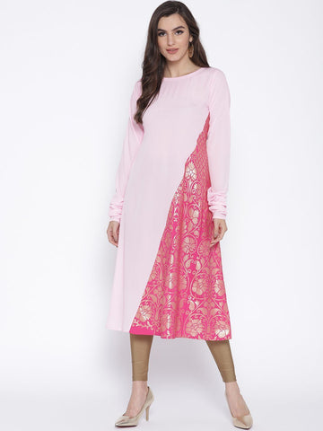 Flared Color Blocked Pink Kurta