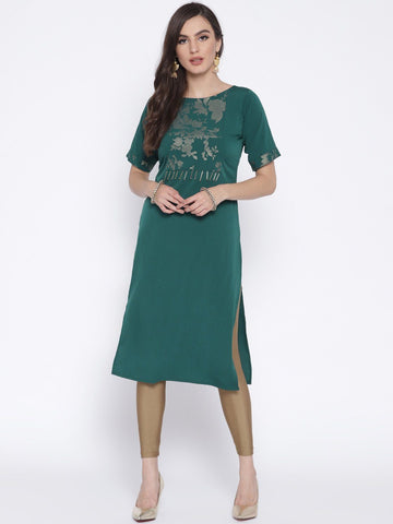 Straight Kurta With Printed Yoke & Fringe Detail