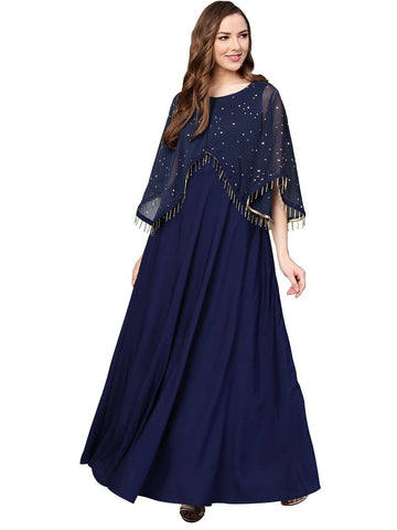 Women Blue Printed A-Line Cape Fringe Kurta