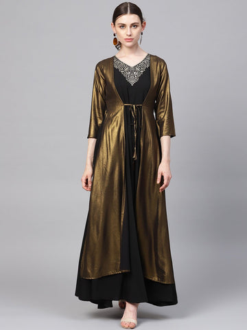 Black & Gold Indowestern Jacket Style Kurta Dress
