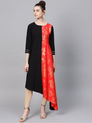 Black & Red Assymetrical Kurta