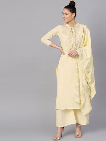Ahalyaa Women's Cream Straight Kurta Sets