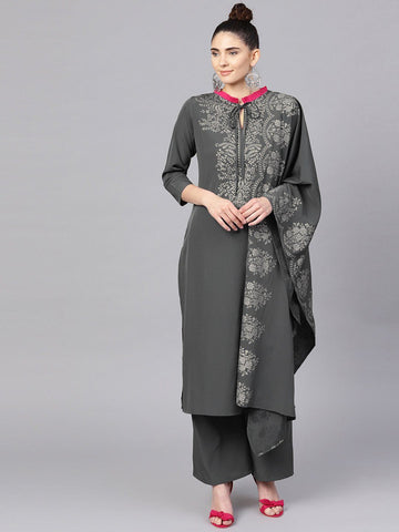 Ahalyaa Women's Grey Straight Kurta Sets