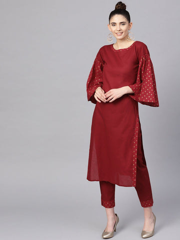 Ahalyaa Women's Maroon Straight Kurta Sets