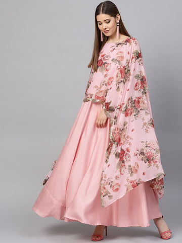 Pink Floral Cape Style Kurta Gown