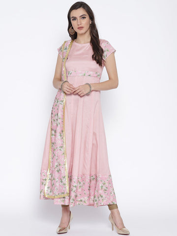 Anarkali Kurta Dress with Attached Floral Dupatta & Gold Scallop Highlights