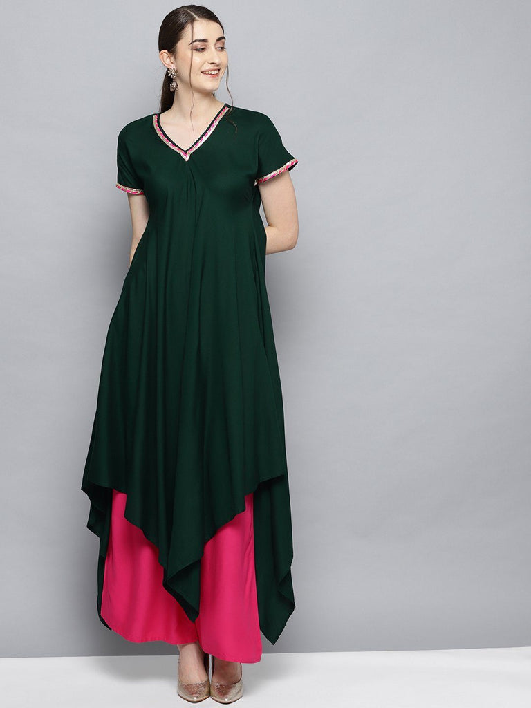 Dark Green Solid Kimono Rayon Kurta Set for Women