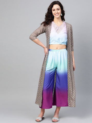 Women Printed Crop Top with Shrug Set