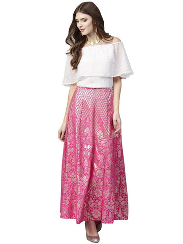 Ahalyaa Off Shoulder Blouse with Pink Brocade Like Skirt