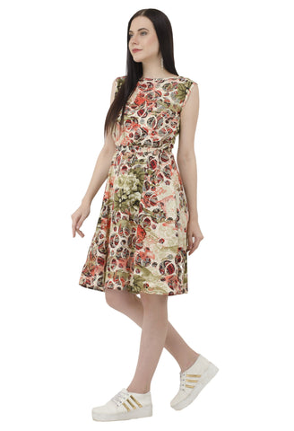 Botanical Print A-line Dress