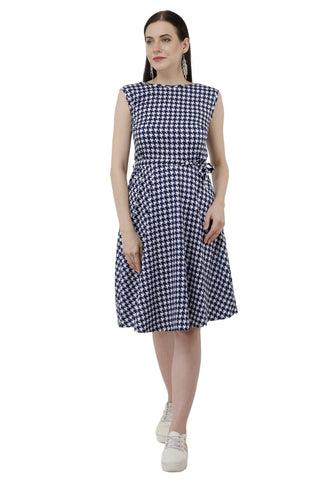 Blue White Textile Print Dress