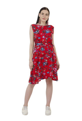 Hot Red Floral Print A-line Dress
