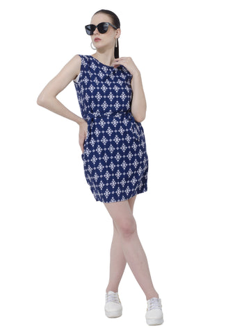 Blue White Cool Printed Dress