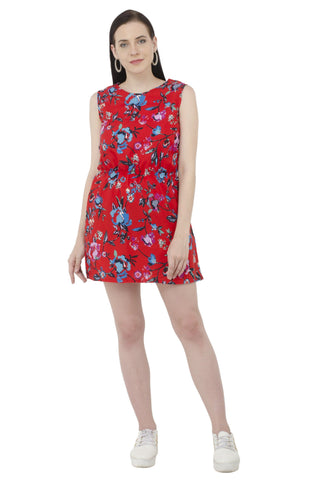 Bright Red Floral Print Dress