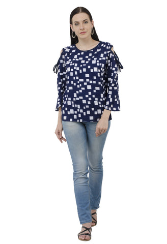 Blue Block Print Bell Sleeves Cold Shoulder Top