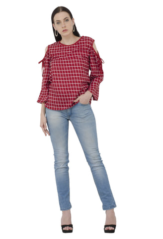 Red Cold Shoulder Check Top
